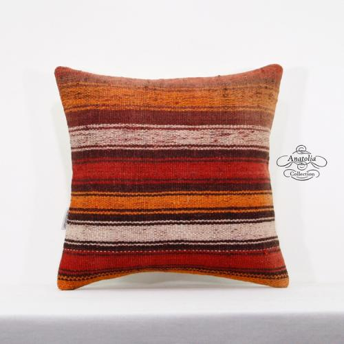 "Vintage Kilim Pillow Cover 16x16"" Striped Turkish Rug Cushion Ethnic Pillowcase"