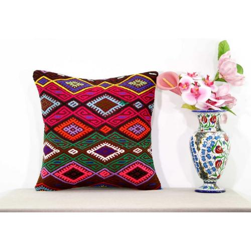 "Boho Chic Gypsy Kilim Rug Pillow Turkish Embroidered Ethnic 18x18"" Cushion Cover"