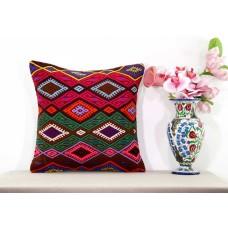Boho Cottage Chic 18x18 Kilim Pillow Embroidered Large Turkish Kelim Rug Cushion