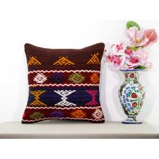 Cottage Chic Kilim Rug Pillow Anatolian Embroidered Turkish Kelim Cushion Cover