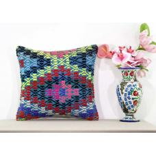 Gypsy Embroidered Kilim Pillow Boho Decoration Accent Kilim Cushion Cover 18x18""