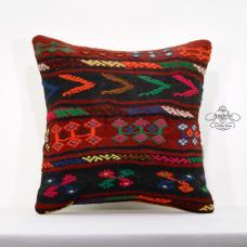 "Full Embroidered Vintage Pillow 18x18"" Turkish Kilim Rug Cottage Cushion Cover"