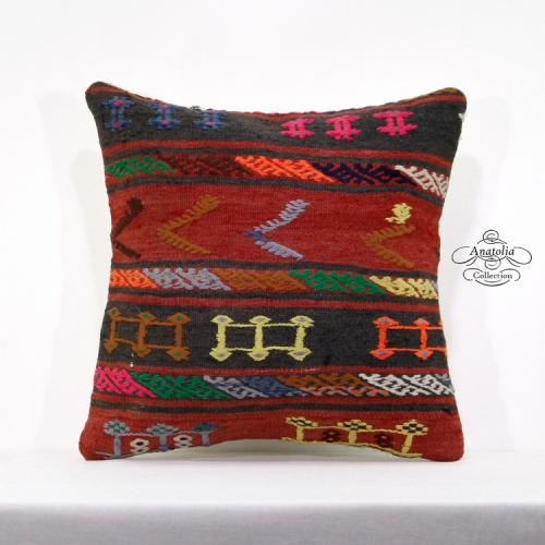 "Gypsy Bohemian Interior Decor Pillow 18x18"" Colorful Turkish Kilim Cushion Cover"