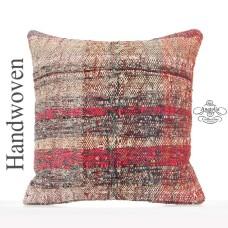 Bohemian Interior Decor Accent Kilim Pillow 18x18 Burlap Cushion Cover