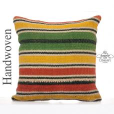 "Colorful Striped Kilim Throw Pillow 18x18"" Retro Decorative Cushion"