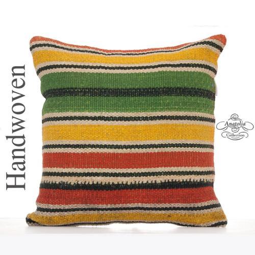 "Colorful Striped Kilim Throw Pillow 18x18"" Retro Decorative Cushion"