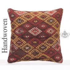 "Antique Decorative Embroidered Kilim Pillow 18"" Sofa Couch Decor Throw"