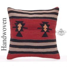 "Decorative 18x18"" Turkish Kilim Pillow Square Vintage Sofa Cushion"