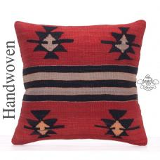 "Designer Hand Woven Kilim Cushion 18x18"" Star Motif Kelim Rug Pillow"