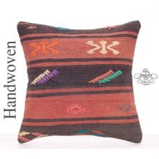 "Embroidered Ethnic Kilim Rug Cushion 18x18"" Vintage Turkish Pillowcase"