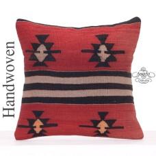 "Ethnic Decorative Kilim Cushion 18"" Tribal Interior Sofa Throw Pillow"