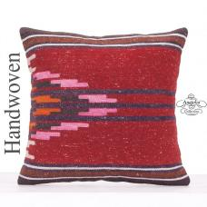 "Ethnic Decorative Kilim Rug Pillow 18x18"" Designer Hand Woven Cushion"