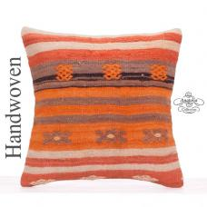 Orange Striped Decorative Kilim Pillowcase 18x18 Anatolian Rug Cushion
