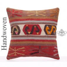 "Oriental Kilim Pillow 18x18"" Anatolian Decorative Square Sofa Cushion"