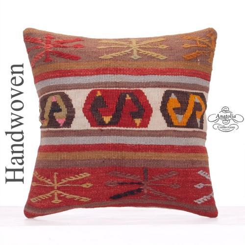"Oriental Kilim Pillow 18x18"" Anatolian Decorative Square Sofa Cushion"