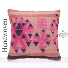 "Pink Tribal Decorative Kilim Pillow 18x18"" Retro Turkish Rug Cushion"