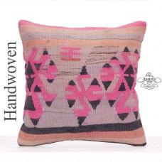 "Tribal Anatolian Pink Kilim Pillow 18x18"" Retro Decorative Rug Cushion"