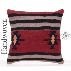 Vintage Star Motif Kilim Pillowcase 18x18 Tribal Turkish Rug Cushion