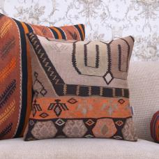 Contemporary Interior Decor Throw Kilim Pillow 18x18 Ethnic Rug Cushion