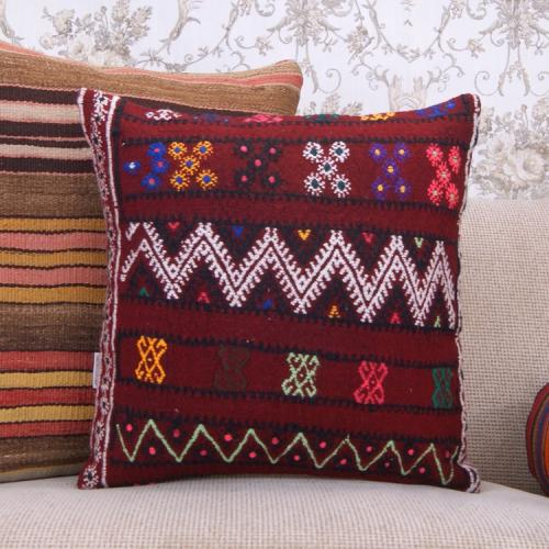 """Cottage Chic Kilim Pillow Embroidered 18x18"""" Red Decorative Rug Cushion"""