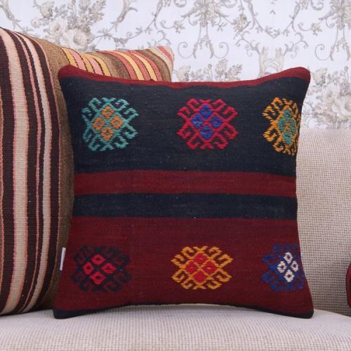 "Embroidered Vintage Kilim Pillow 18x18"" Ethnic Decorative Rug Cushion"