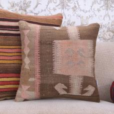 "Muted Vintage Turkish Rug Cushion 18x18"" Oriental Kilim Throw Pillow"