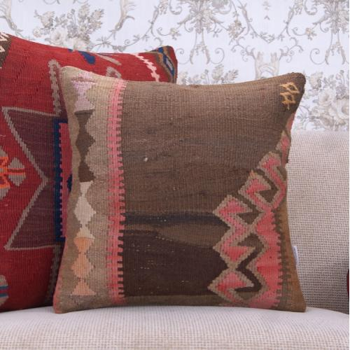 Old Handmade Rug Cushion Cover 18x18 Antique Turkish Kilim Throw Pillow