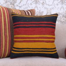 "Striped Turkish Rug Cushion 18x18"" Vibrant Colorful Kilim Throw Pillow"