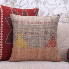 """Vintage Gray Kilim Pillow 18x18"""" Embroidered Turkish Rug Cushion Cover"""