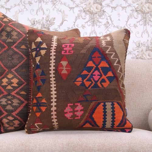 "Bohemian Home Decor Throw Handmade 18x18"" Colorful Turkish Kilim Pillow"