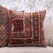 "Decorative Hand-Knotted Rug Throw Pillow 18x18"" Turkish Carpet Cushion"