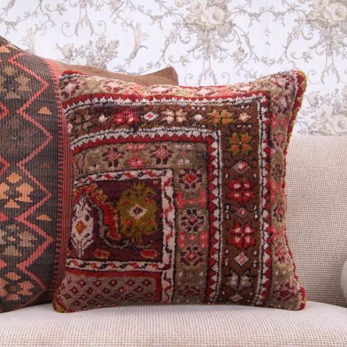"Eclectic Interior Decoration Sofa Throw Pillow 18x18"" Retro Rug Cushion"