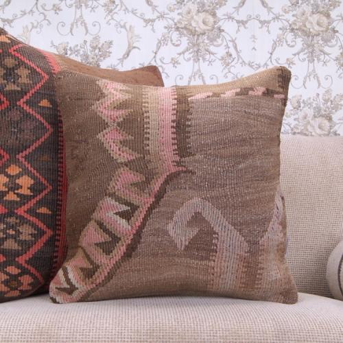 "Muted Old Kilim Cushion 18x18"" Eastern Handmade Rug Decor Throw Pillow"