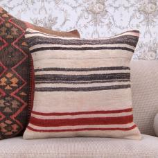 "Natural Kilim Pillow Striped Modern Decor Throw 18x18"" Cushion Cover"