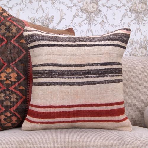 """Natural Kilim Pillow Striped Modern Decor Throw 18x18"""" Cushion Cover"""