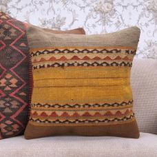 "Nomadic Decorative Kilim Pillow Case 18x18"" Anatolian Floor Sofa Throw"