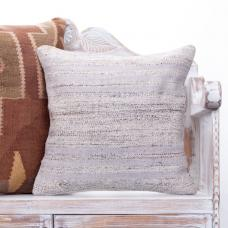 Modern Handmade Vintage Kilim Pillow White Striped Turkish Decor Throw