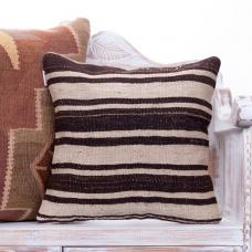 "Natural White Striped Kilim Pillow 18"" Modern Home Decor Throw Cushion"