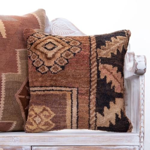 "Retro Anatolian Rug Pillow 18x18"" Handmade Tribal Turkish Sofa Throw"