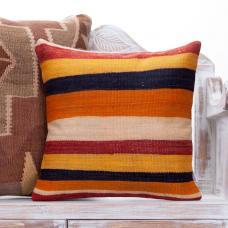 "Striped Colorful Kilim Rug Pillow 18x18"" Decorative Sofa Couch Throw"