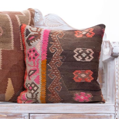Vintage Anatolian Kilim Throw Pillow Bohemian Home Decor Sofa Cushion