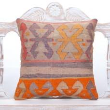 Anatolian Vintage Kilim Rug Cushion 18x18 Handmade Oriental Sofa Throw