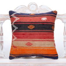 "Embroidered Vintage Kilim Pillow 18"" Colorful Handmade Turkish Cushion"