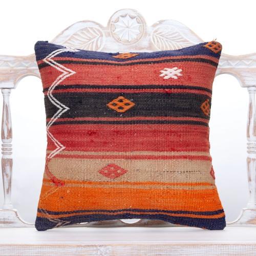 "Embroidered Vintage Kilim Pillow 18"" Colorful Handmade Turkish Cushion"