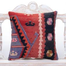 "Oriental Vintage Turkish Kilim Pillow 18x18"" Ethnic Rug Cushion Cover"