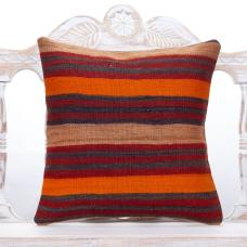 "Striped Colorful Kilim Rug Pillow 18x18"" Orange & Red Vintage Cushion"