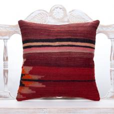Striped Vintage Kilim Pillow 18x18 Retro Turkish Handmade Decor Throw