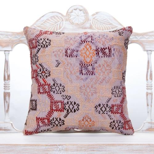 "Vintage Decorative Kilim Pillow 18x18"" Ethnic Anatolian Decor Throw"