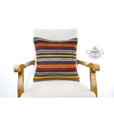 Striped Turkish Tribal Kilim Pillow Large Decor Accents Vintage Cushion