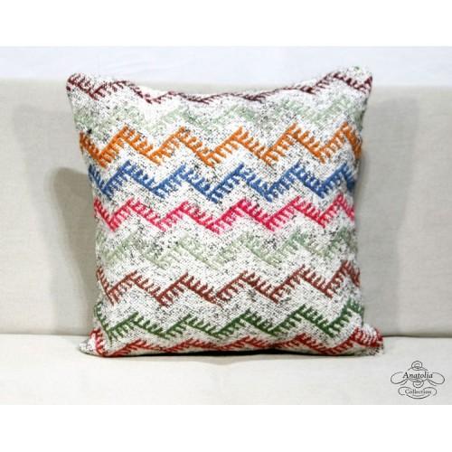 "Colorful Boho Chic Kilim Cushion Throw Hairy Zig Zag Kelim Rug Pillow Sham 20"""